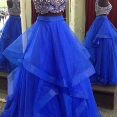 Royal Blue Two Piece Prom Dresses,Beaded Bodice Tulle Skirt Sweet 16 Dresses,Ball Gown Formal Dresses