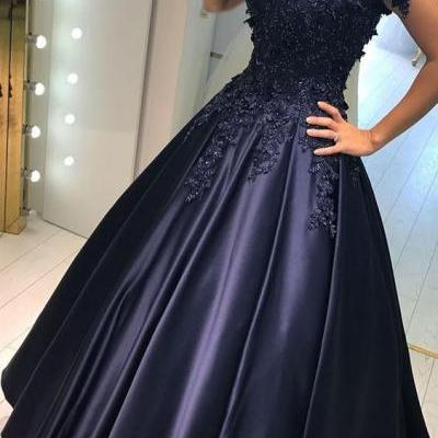 Dark Navy Satin with Lace Appliqued Off shoulder Prom Dresses,Ball Gown Fancy Dresses,Navy Formal Gowns,2378