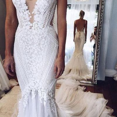 Deep V-neck White Tulle with Beaded Flowers Wedding Dresses,Elegant Mermaid Bridal Gowns,2457