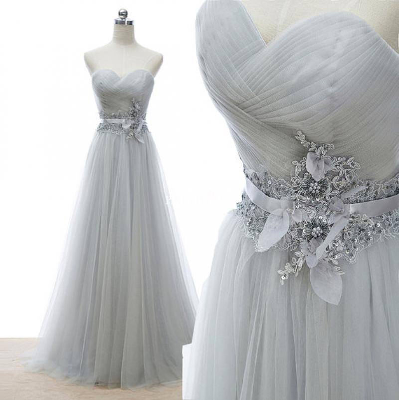 Sweetheart neck silver tulle prom dresses lace appliqued waistband formal dresses APD1639