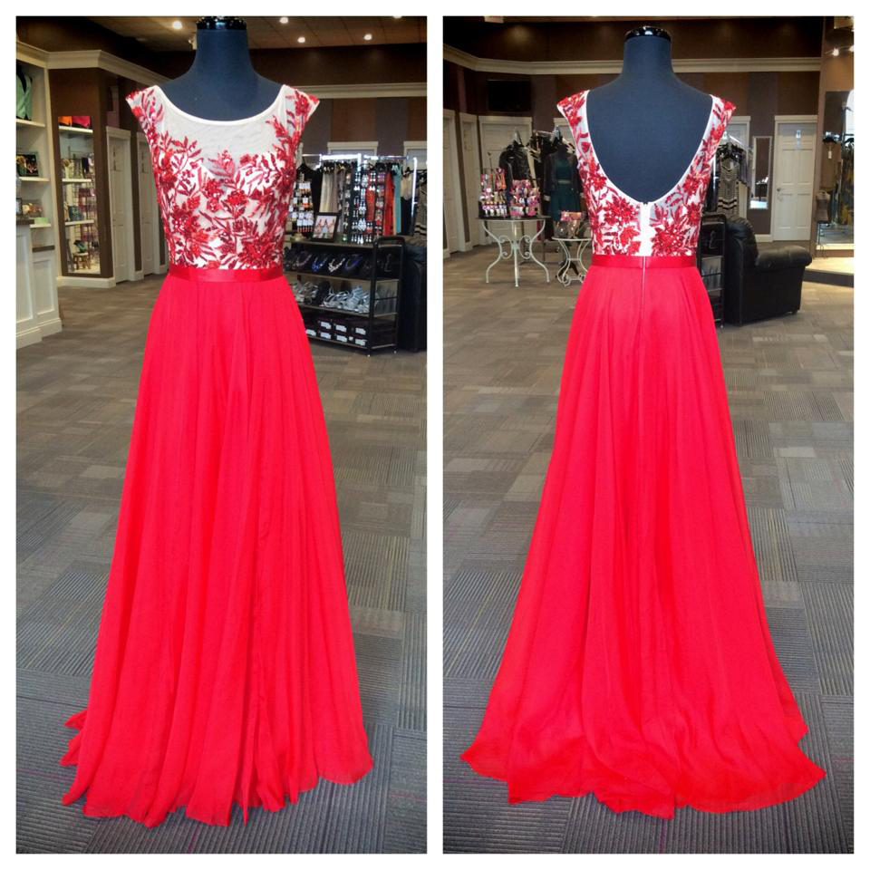 A-line embroidery bodice red chiffon prom dresses 2016 prom formal dresses