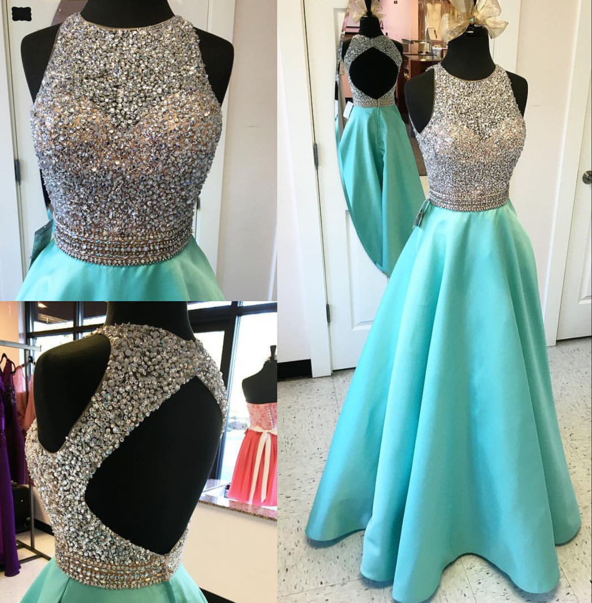 Halter Beaded Bodice Mint Satin Skirt Prom Dresses Open Back Long ...