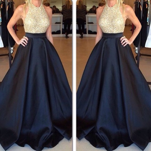 Gold Beaded Bodice Black Taffeta Skirt Poofy Prom Dress,Halter ...