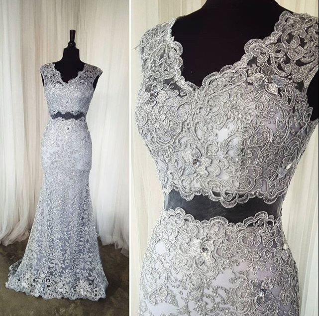 2 Piece Prom Dress,Gray Lace Prom Dress,Long Formal Dress With ...