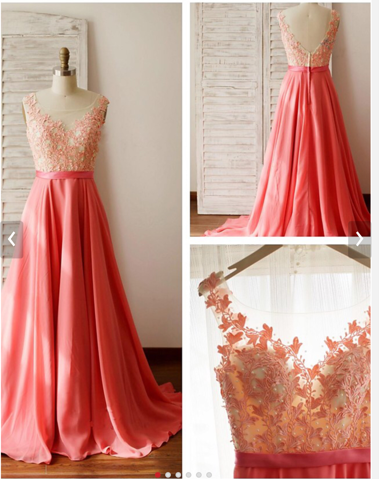 Lace Appliqued Bodice 2016 Prom Dress,Watermelon Chiffon Long Bridesmaid Dresses 1723