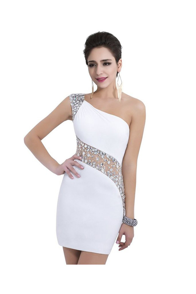 sheath one shoulder white homecoming dresses short prom