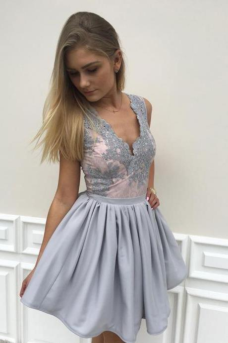 2017 A-line V-neck Appliqued Sleeveless Chiffon Homecoming Dresses APD2628a