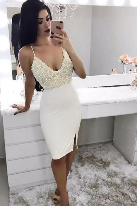 2017 Spaghetti Strap Beading Sleeveless Sheath Sexy Shiny Homecoming Dresses APD2629a