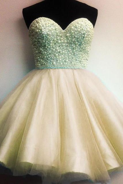 2017 A-line Princess Sweetheart Beading Sleeveless Tulle Homecoming Dresses APD2635a