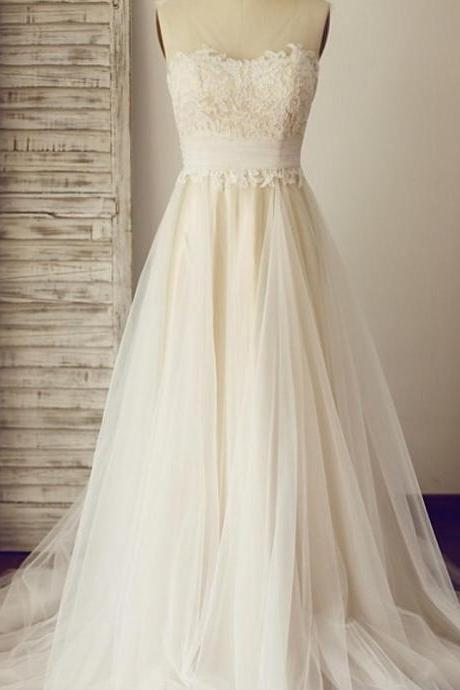 Sheer Sleeveless Lace Appliqués Tulle A-line Wedding Dress With Train