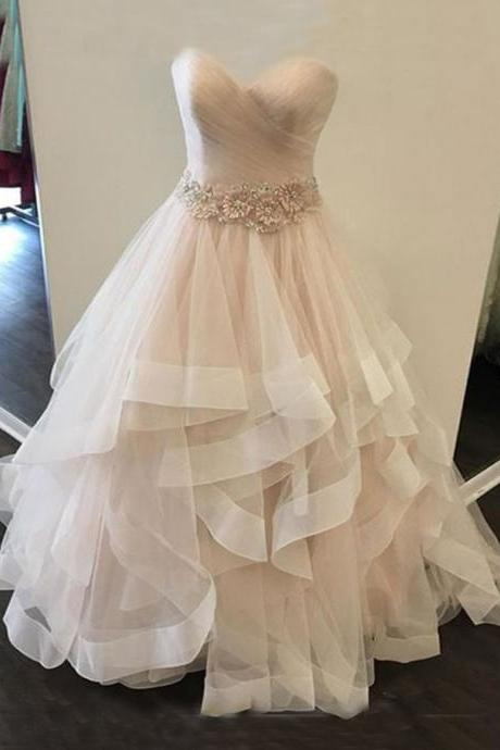 A-line Princess Pleats Wedding Dresses, Simple Grace Wedding Dresses ASD2554