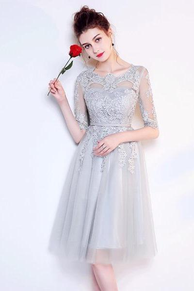 A-line Princess Appliqued Homecoming Dresses Half Sleeve Bridesmaid Dresses ASD2578