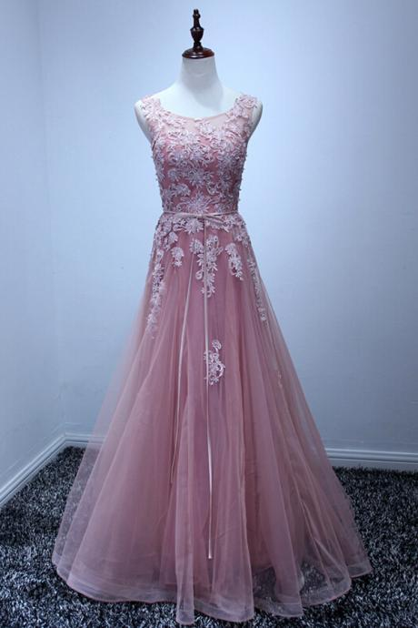 A-line Scoop Neck Appliqued Wedding Dresses, Princess Floor Length Dresses for Autumn ASD2619