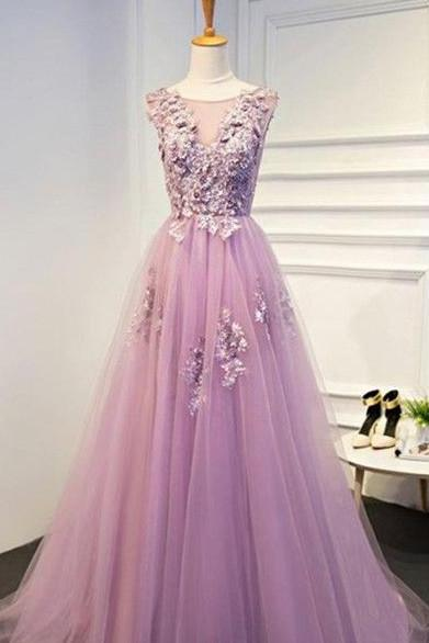 A-line Princess Scoop Neck Appliqued Wedding Dresses, Sweep Train Wedding Dresses ASD2635