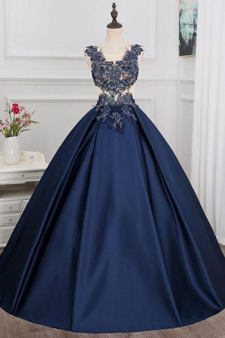 A-line Princess Scoop Neck Sleeveless Floor Length Prom Dresses ASD27122