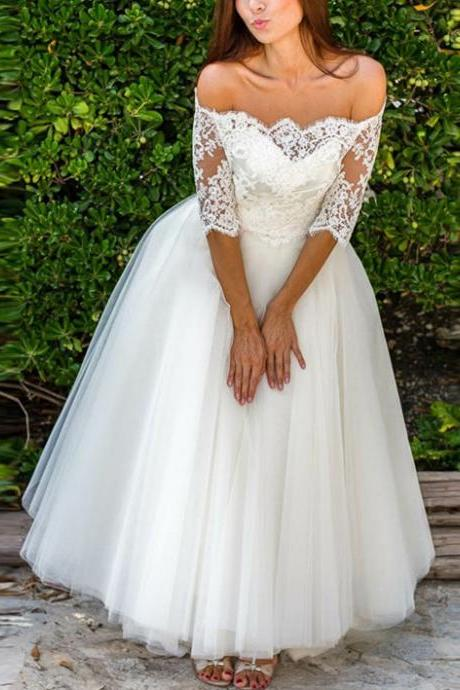 Off-the-Shoulder Lace Tulle Floor-Length A-line Wedding Dress with Mid-Length Sleeves