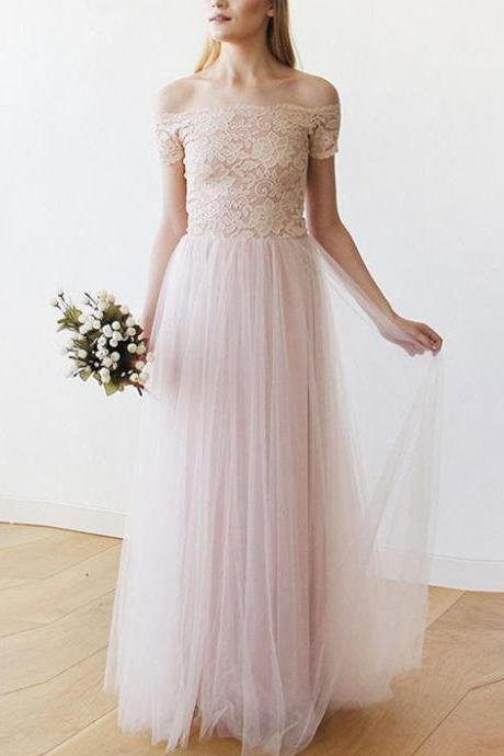 Stunning Tulle & Lace Off-the-shoulder Neckline Floor-length A-line Wedding Dress WD100