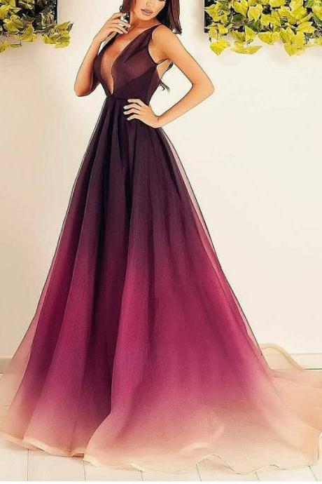 Attractive Tulle Deep V-neck Neckline A-line Prom Dresses PD227