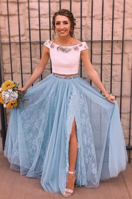 Delicate Satin & Tulle Bateau Neckline Cap Sleeves 2 Pieces A-line Prom Dresses PD224