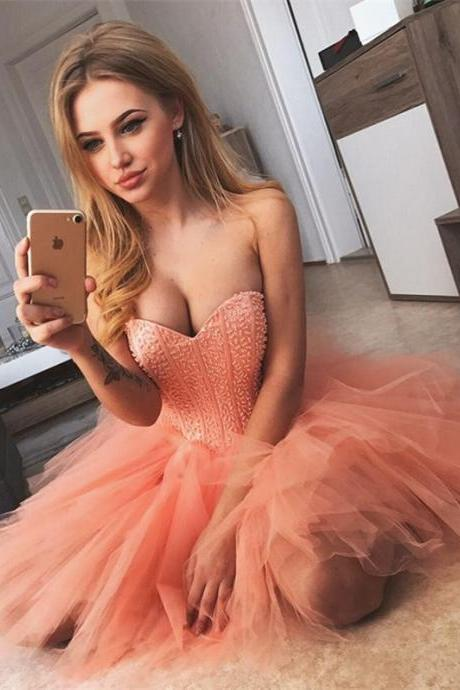 Sexy Tulle Sweetheart Neckline Short A-line Homecoming Dresses HD134