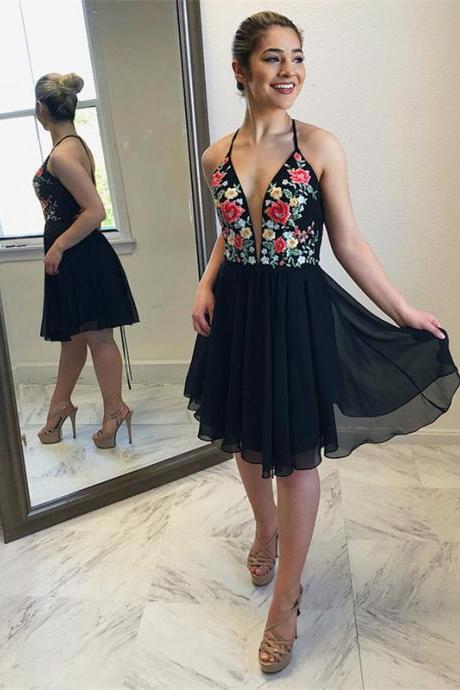 Attractive Chiffon Halter Neckline Short A-line Homecoming Dresses HD137