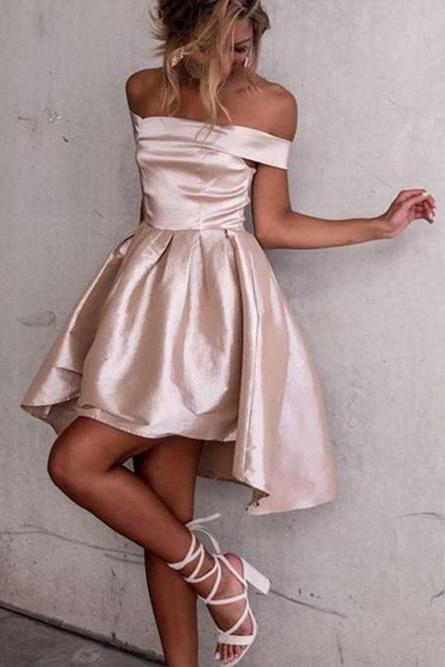 Chic Satin Off-the-shoulder Neckline Hi-lo A-line Homecoming Dresses HD146