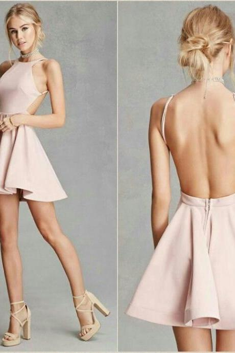 Sexy Satin Jewel Neckline backless Short A-line Homecoming Dresses HD149