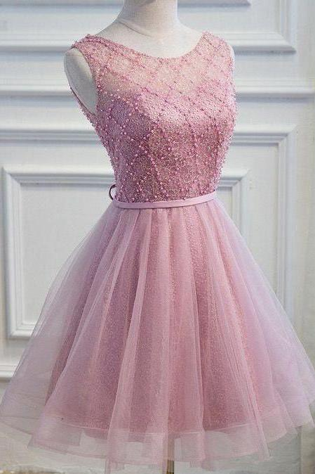 Stunning Tulle Scoop Neckline Short A-line Homecoming Dresses HD173