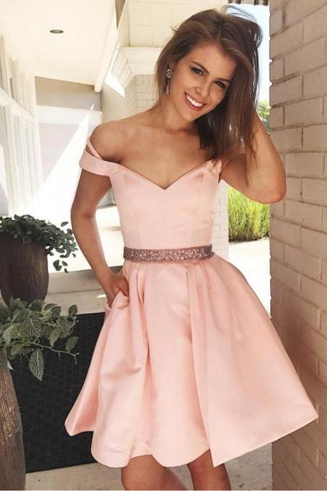 Fabulous Satin Off-the-shoulder Neckline A-line Homecoming Dresses HD174