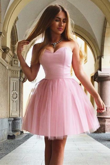 Marvelous Satin & Tulle Sweetheart Neckline A-line Homecoming Dresses HD203