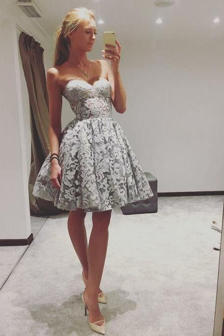 Popular Lace Sweetheart Neckline Short A-line Homecoming Dresses HD189