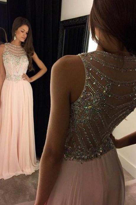 APD1624 A-line Beaded Bodice Illusion neck Chiffon prom dresses,long formal dresses