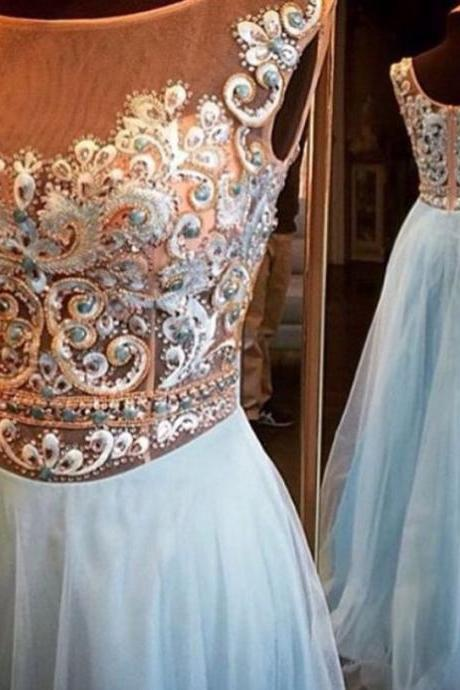 See-through Embroidery Beaded Bodice Light Blue Skirt Formal Dresses for 2016 Prom