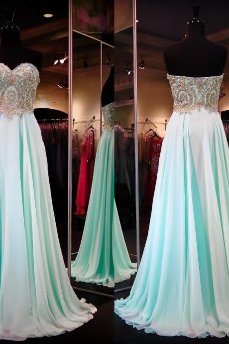 Gold lace appliqued bodice prom dresses mint chiffon skirt long formal dresses