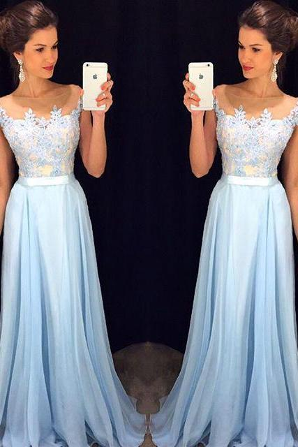 Lace appliqued chiffon skirt prom dresses a-line long sky blue formal dresses