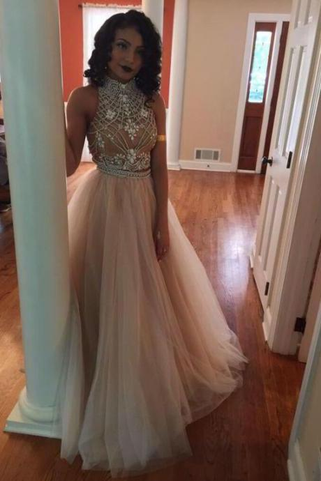 Two pieces prom dresses with beaded bodice nude tulle skirt long formal dresses