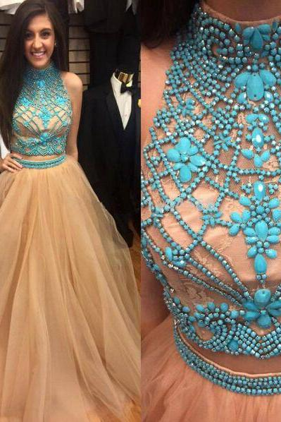 Two pieces prom dresses with beaded bodice champagne skirt long formal dresses