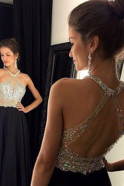 A-line halter black chiffon prom dresses silver beaded bodice long formal dresses