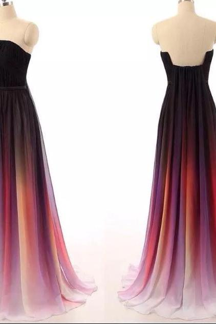 A-line strapless ombre prom dresses with black sash ombre bridesmaid dresses