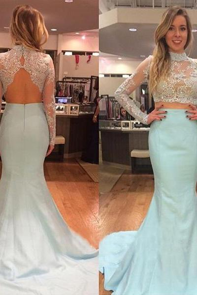 Two pieces mermaid prom dresses lace long sleeve bodice baby blue taffeta skirt prom dresses