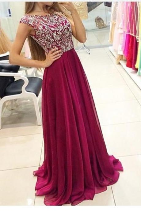 A-line Scoop neck beaded bodice chiffon skirt prom dresses