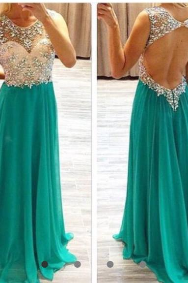 A-line open backless prom dresses beaded bodice chiffon skirt formal dresses
