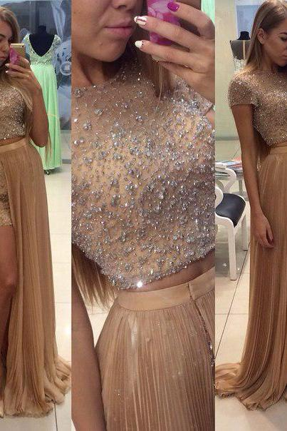 Short sleeve 2pieces prom dresses beaded bodice chiffon skirt formal dresses