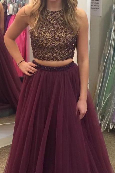 2 pieces prom dresses beaded bodice grape tulle skirt prom gowns