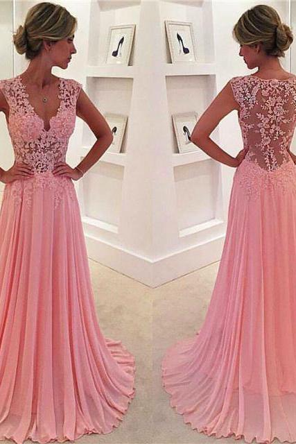 A-line V-neck Lace Appliqued Pink Chiffon Prom Dresses 2016 Long Formal Dresses