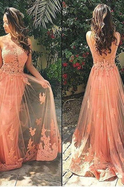 A-line Blush Pink Tulle with Appliqued Long Prom Dress 2016 Formal Gown