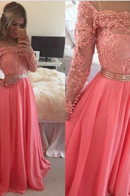 A-line Chiffon Prom Dress with Long Sleeves,Lace Appliqued Bodice Formal Dress for 2016 Prom
