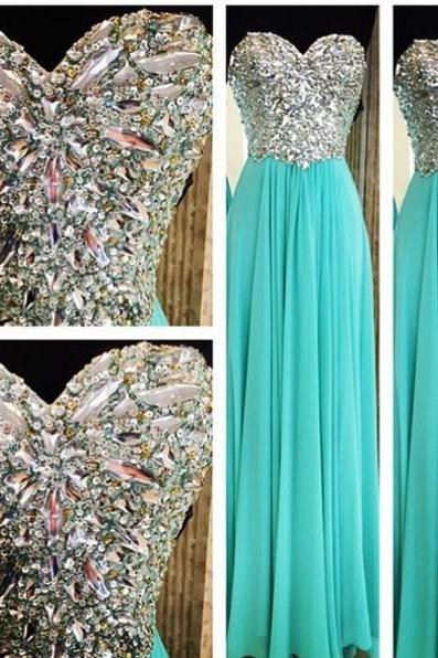 A-line Sweetheart neck Beaded Bodice Mint Chiffon Skirt Long Prom Dress 1498