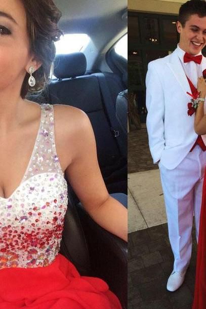 A-line One shoulder Red Chiffon Skirt Backless Prom Dress 1503