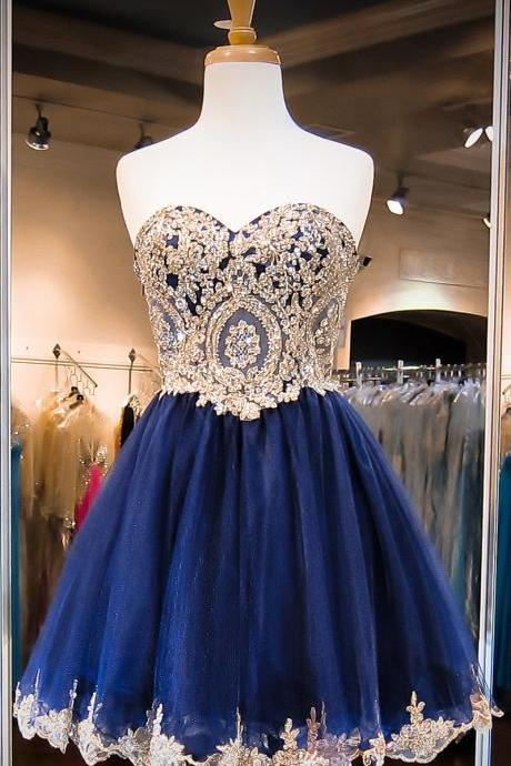 Sweetheart Neck Navy Tulle with Gold Lace Appliqued Homecoming Dresses Short Prom Dresses 1598